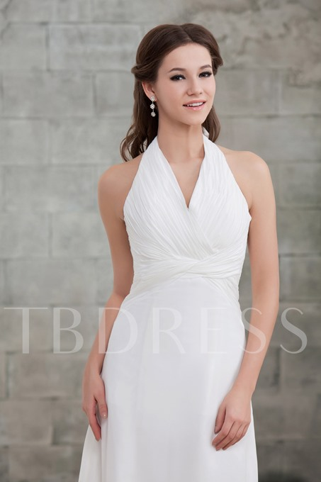Slim A-Line Draped Chest Halter Sandra's Wedding Dress