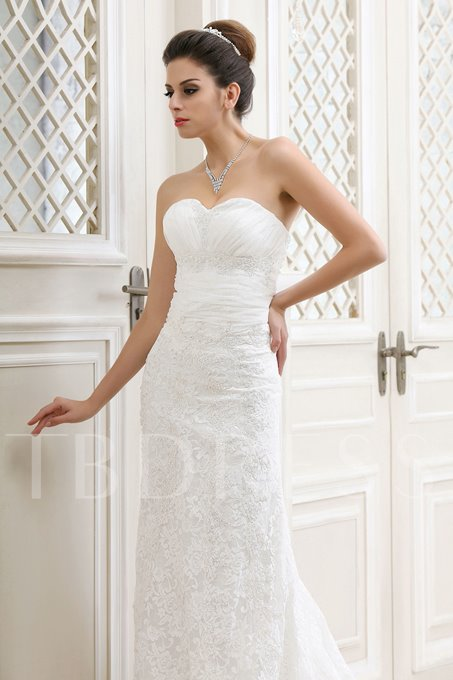 A-Line Sweetheart Chapel Lace Bridal Gown