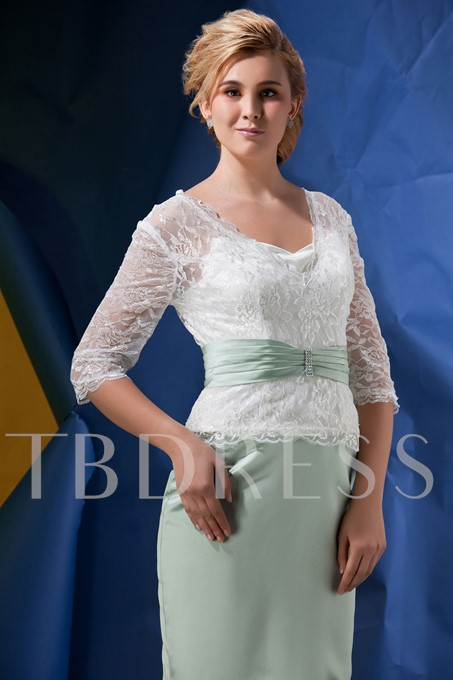 Lace Sheath Half Sleeves Mother of the Bride Dress