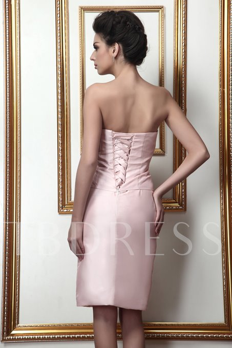 Strapless Knee-Length Lace-Up Mother of the Bride Dress