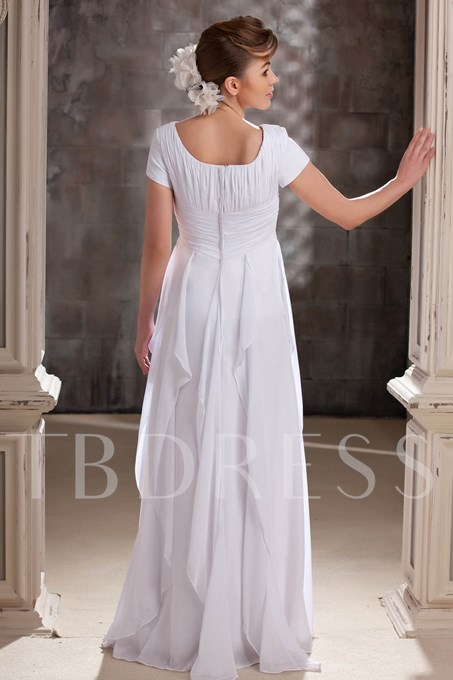 Short Sleeves Ribbons Long Mother of the Bride Dress