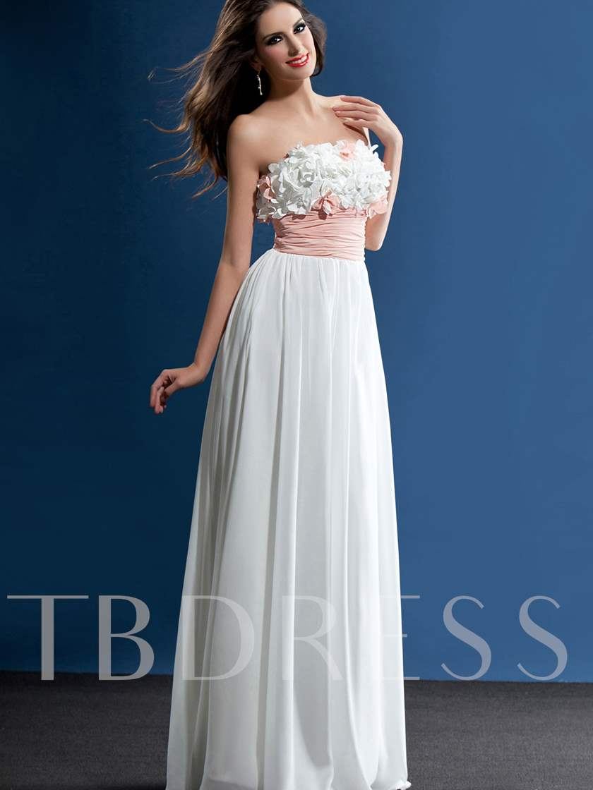 Floor-Length A-Line Strapless Flowers Prom/Party Dress