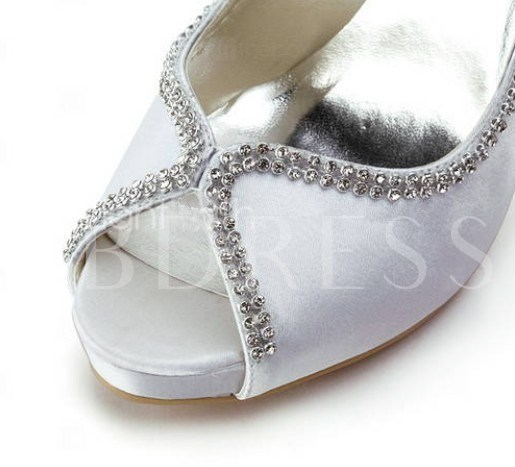 Satin Upper Heel Peep-toes Wedding Bridal Shoes