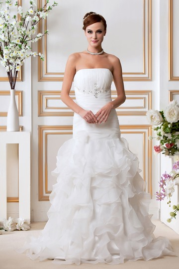 Strapless Tiered Ruffles Trumpet Wedding Dress
