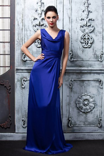 Draped V-Neckline Floor-Length Bridesmaid Dress