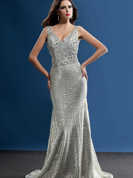 Mermaid Floor-Length Deep V-Neck Taline's Evening Dress