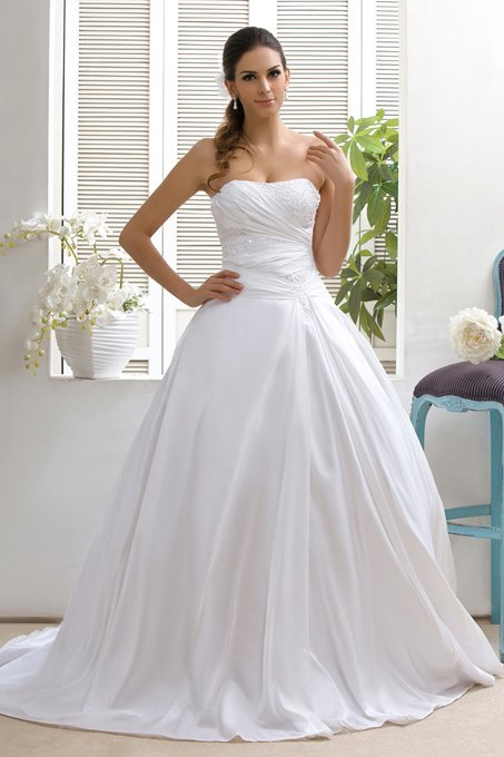 Strapless A-Line Sweep Appliques Taline's Wedding Dress