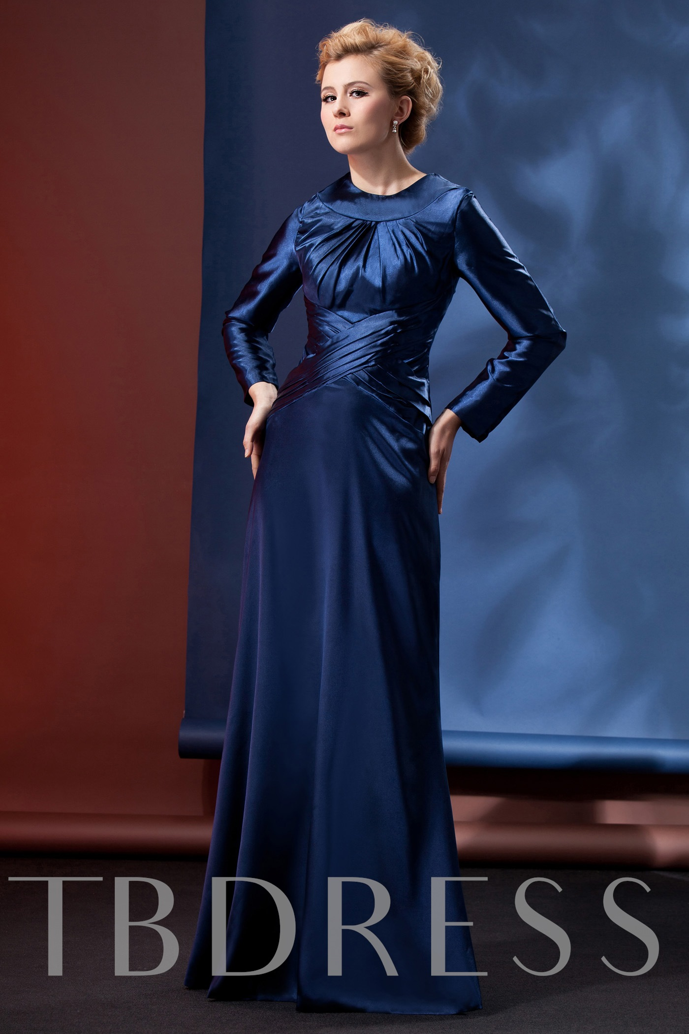 Image of and Dignified Column Floor-Length Alinas Mother Evening Dress