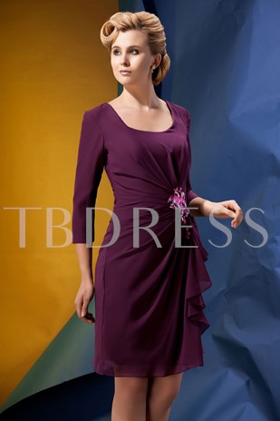 Sheath Sequins Sleeves Mother of the Bride Dress