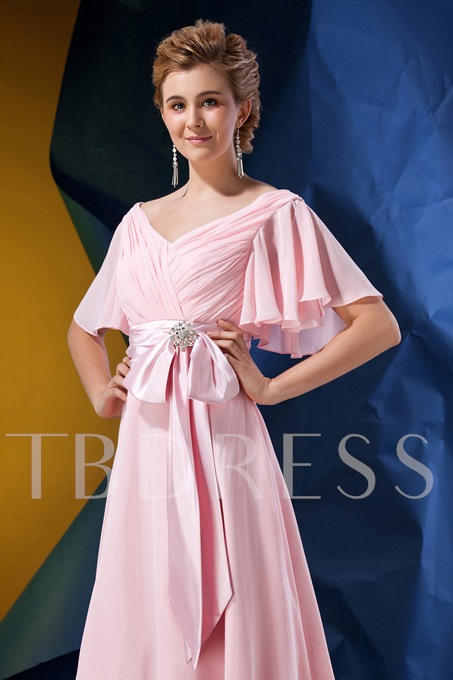 Pleats Short Sleeves Mother of the Bride Dress