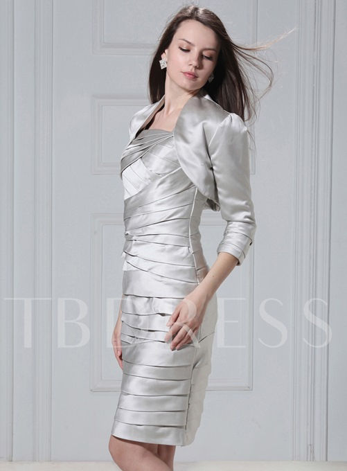 3/4 Sleeve Silvery Jacket with Smooth Edging