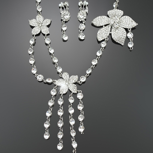 Alloy Flowers Design Wedding Jewelry Set(Including Necklace and Earrings)