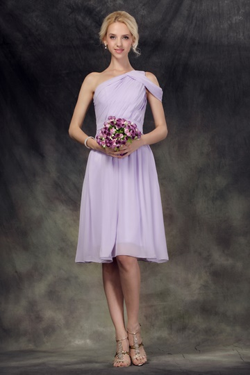 Ruched One-Shoulder Knee-Length Bridesmaid Dress