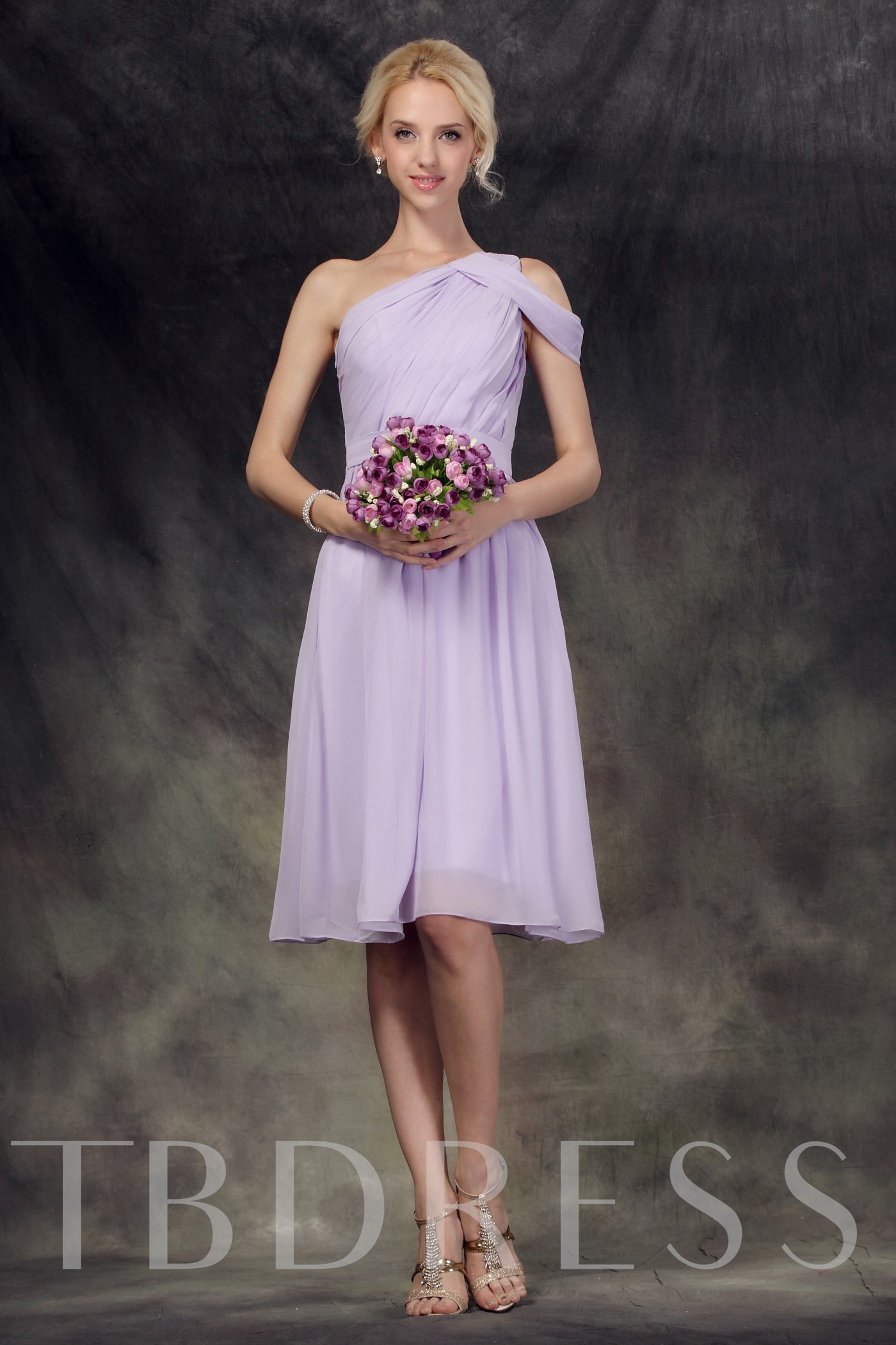 Image of Ruched One-Shoulder Knee-Length Bridesmaid Dress