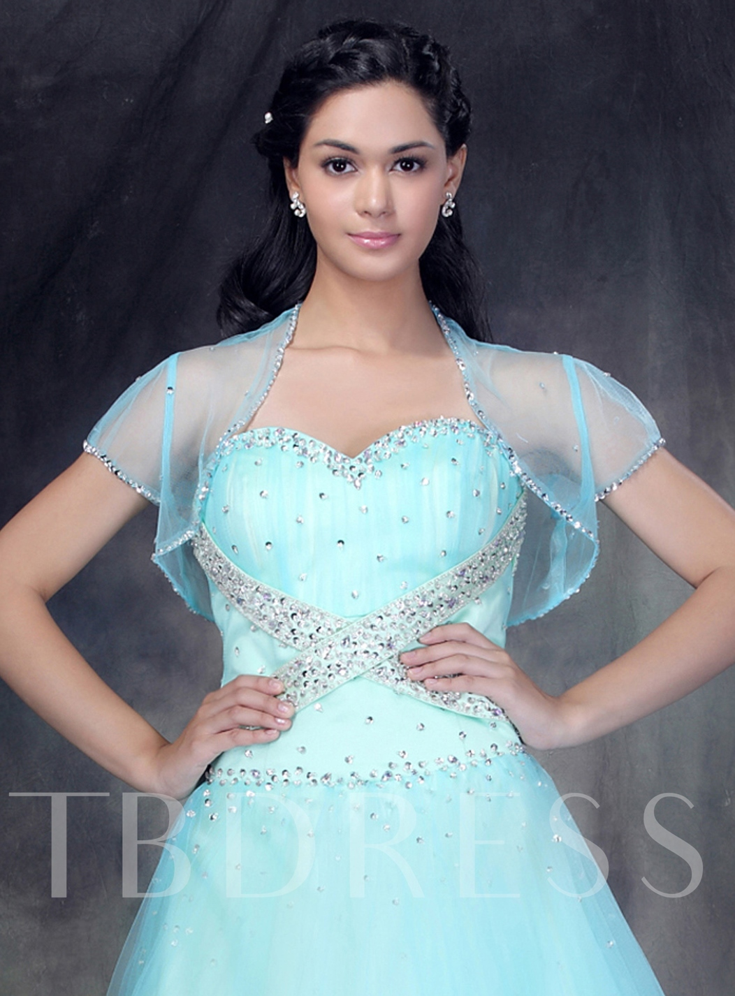 Short Sleeve Light Blue Lace Wedding Bolero/Jacket - Tbdress.com