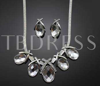 Tear Shaped Rhinestone Inlaid Alloy Wedding Jewelry Set(Including Necklace and Earrings)