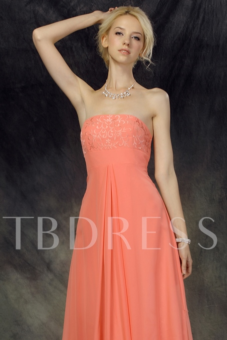 Embroidery A-Line Strapless Long Bridesmaid Dress
