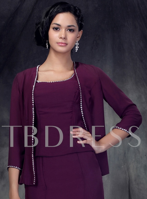 3/4 Sleeve Length Purple Jacket with Floral Edging