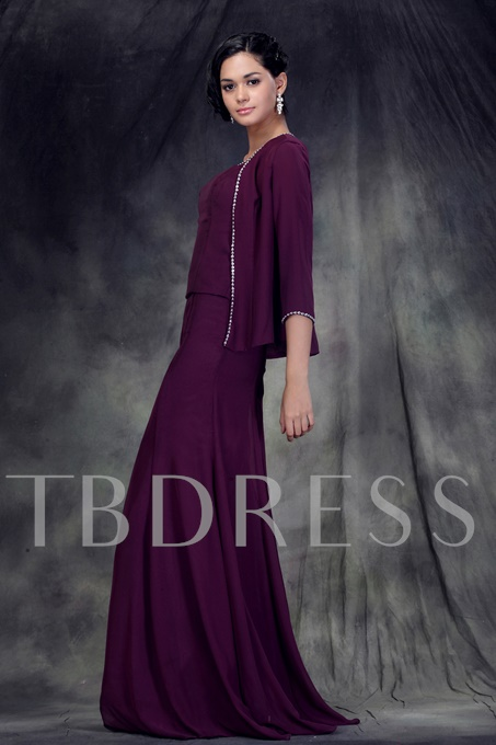 Sequined Square Neck Mother Dress With Jacket
