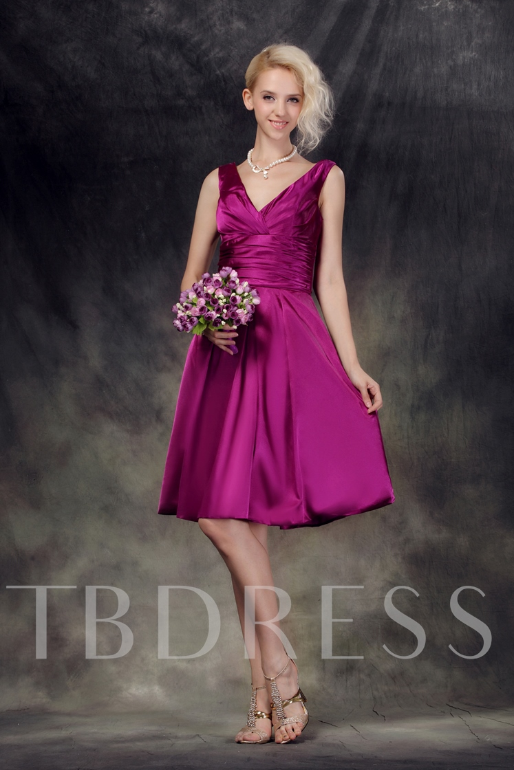 6d3cce53c Ruched A-Line V-Neck Empire Waist Knee-Length Nastye's Bridesmaid Dress.  Sold Out