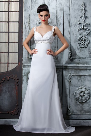 A-Line Floor-Length Straps Evening Dress