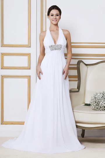 Empire Halter Backless Court Train Beach Wedding Dress