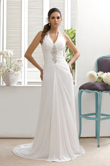 Sheath/Column V-neck Court Beaded Taline's Wedding Dress
