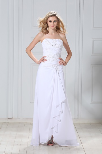 Strapless Appliques Beach Wedding Dress