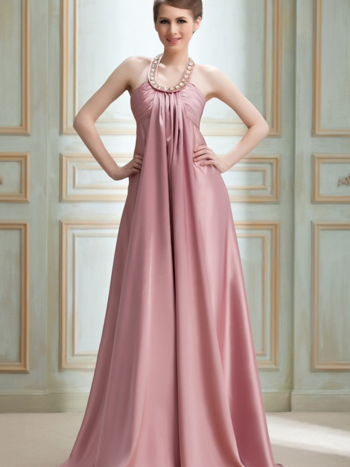 A-line Halter Floor-length Nadya's Evening/Event Dress