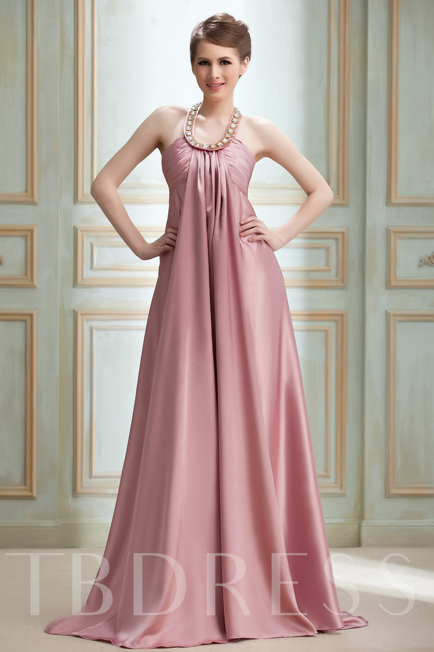 Image of A-line Halter Floor-length Nadyas Evening/Event Dress
