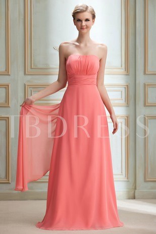 A-line Sashes/Ribbons Strapless Long Bridesmaid Dress