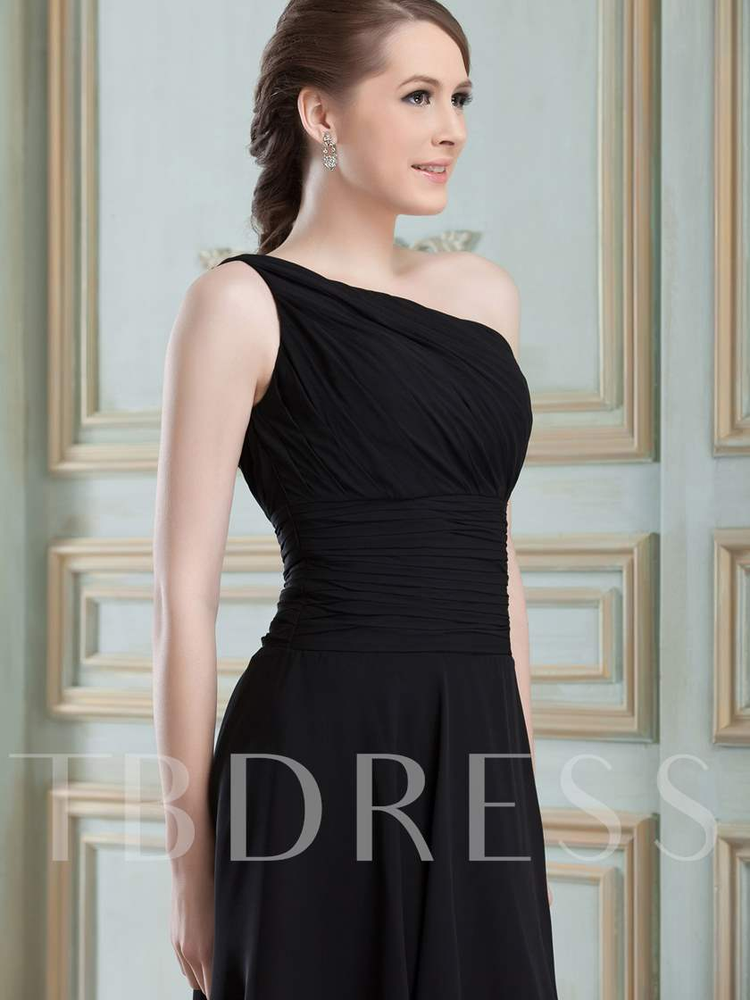 Ruched One-Shoulder Short Beach Bridesmaid Dress