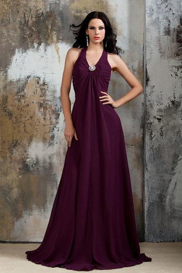Floral Pin Halter Long Chiffon Bridesmaid Dress