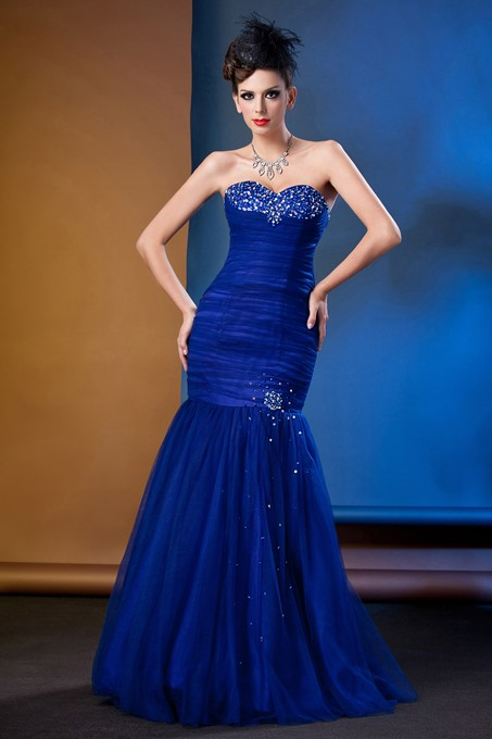 Ruched Trumpet/Mermaid Beading Sweetheart Long Evening Dress