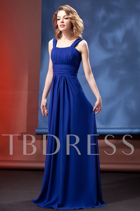 Ruched A-Line Square Empire Waist Daria's Floor-Legnth Bridesmaid Dress