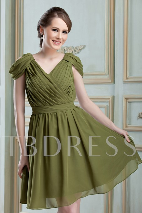 V-Neck Ruched A-Line Knee-length Bridesmaid Dress