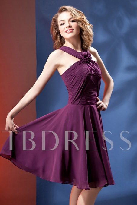 A-Line Knee Length Halter Daria's Homecoming/Bridesmaid Dress