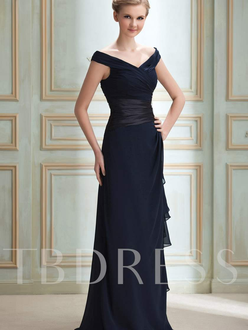 Column Off-The-Shoulder Appliques Bridesmaid Dress