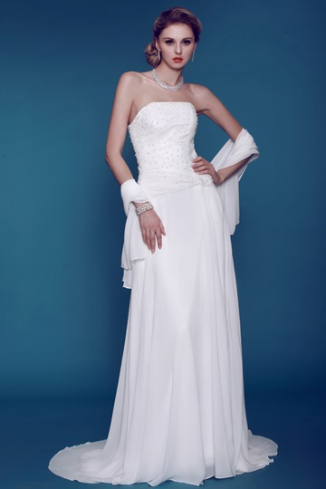 Sheath Strapless Beaded Wedding Dress With Shawl