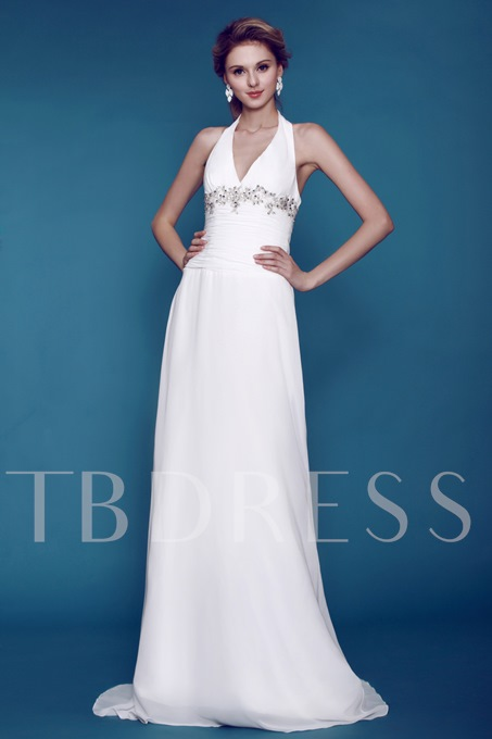 Sheath/Column Halter Floor-length Beach Dasha's Wedding Dress