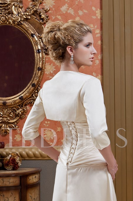 Beaded Column Strapless Mother Dress With Jacket