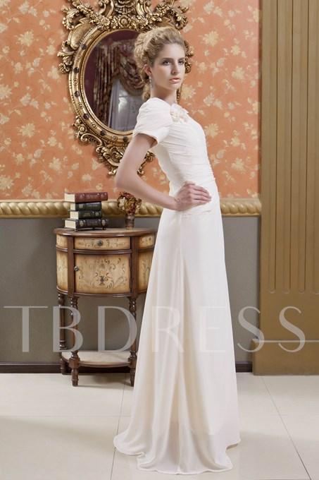 Short Sleeves Flowers Mother of the Bride Dress