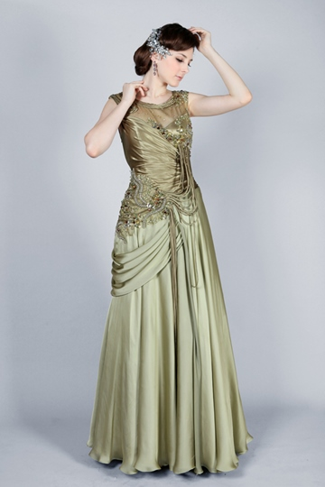 A-Line Floor-Length Scoop Evening Dress