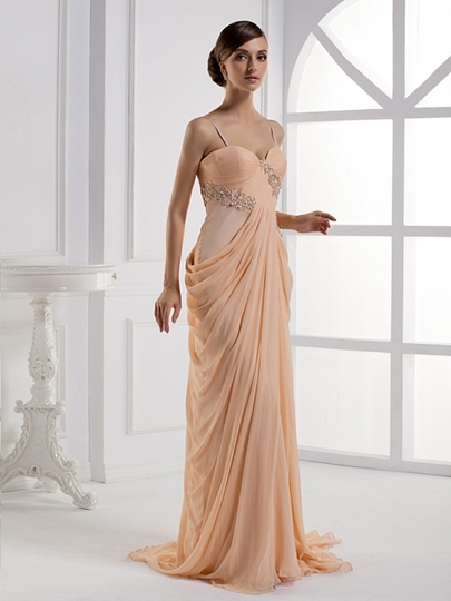 Column Floor-Length Spaghetti Strap Party/Evening Dress