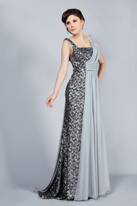 Column Floor-Length Straps Beading Evening Dress