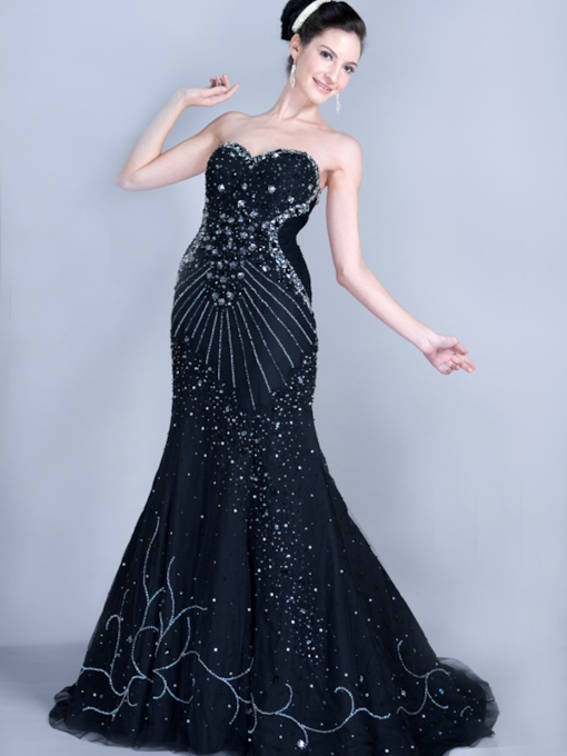 New Column Sweetheart Floor-length Court Train Evening Pageant Dress