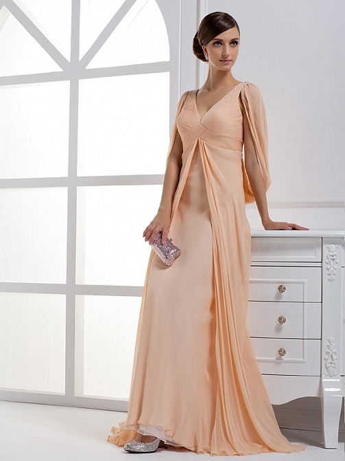 Ruched A-Line V-Neck Beading Floor-Length Prom/Evening Dress