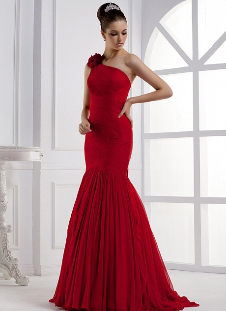 Mermaid/Trumpet One-Shoulder Long Evening Dress