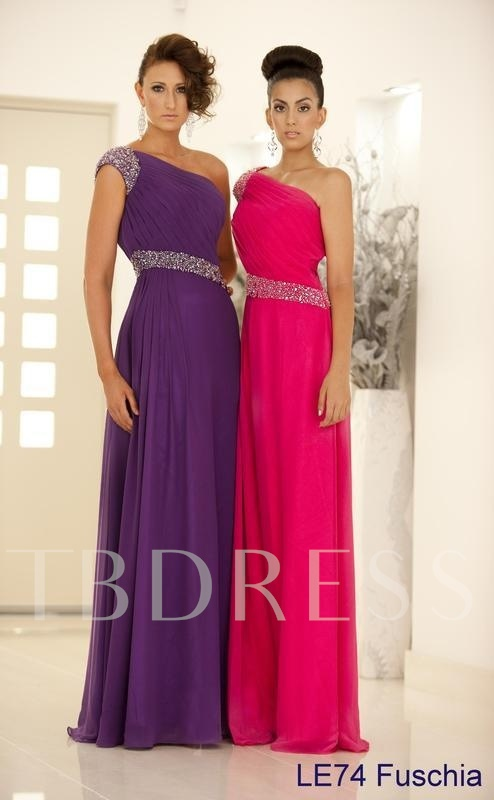 Image of A-Line One-Shoulder Beadings Long Evening/Prom Dress