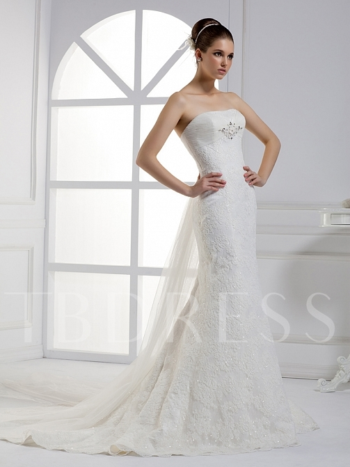 Mermaid Strapless Watteau Lace Wedding Dress